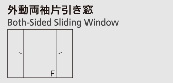 外動両袖片引き窓