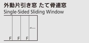 外動片引き窓 たて骨連窓