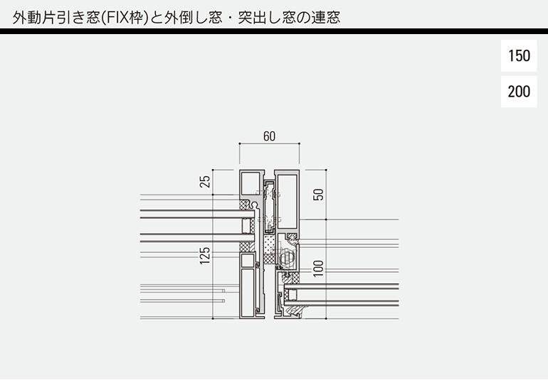 外動片引き窓(FIX枠)と外倒し窓・突出し窓の連窓